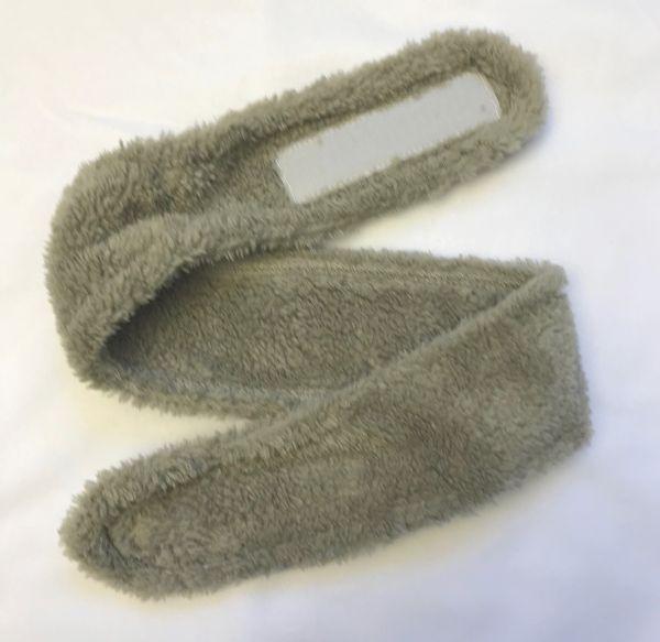 Stirnband mit Klettverschluss 5,5cm Teddy-Plüsch, taupe