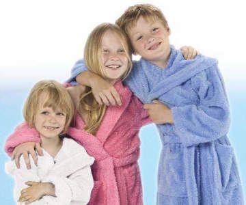 Kinderbademantel mit Kapuze rosa, rot, hellblau, weiss Gr. 86-164