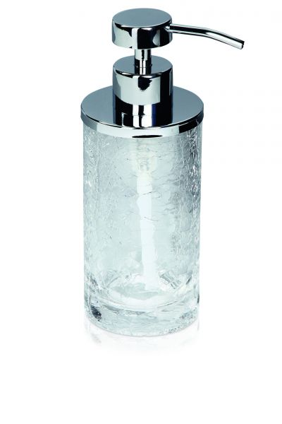 möve Glass Seifenspender - mundgeblasenes Craquelé Glas mit Edelstahl